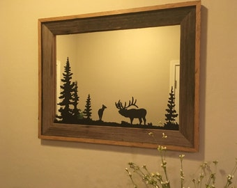 Wall Art Mirror with Elk and Pine Tree Scenery