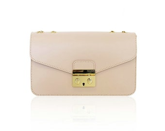 AMELIA Italian Baguette clutch mini bag with light gold plated chain smooth leather, evening clutch mini bag, light gold snap, Italian bag