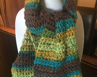 Super Soft and Ultra Warm Crochet Scarf Multi Color Brown and Green