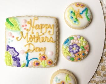 Mothers Day Sugar Cookies, Mothers Day Cookies, Set of Eight, Mothers Day Gift, Gift for Mom, Elegant Cookies, Gift for Her, Sugar Cookies