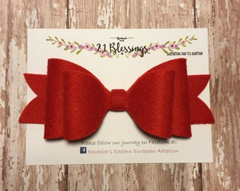 Big Felt Bow Nylon Headband OR Hair Clip| Choose Your Own Colors|Baby, Toddler, Girls, Adult