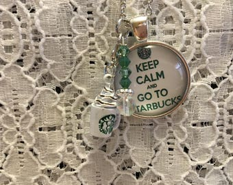 Starbucks Charm Necklace/Starbucks Necklace/Starbucks Jewelry/Keep Calm Jewelry/Keep Calm Necklace/Coffee Jewelry/Coffee Necklace/Starbucks