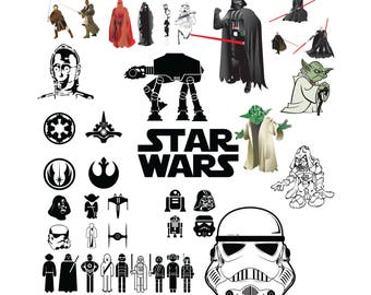 40 Star Wars SVG, Star wars Clip Art, Starwars svg svg,png,jpg,eps for Print/Silhouette Cameo/Cricut and Many More