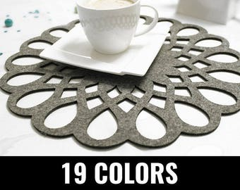Felt placemat, modern placemat, stylish placemat, table placemat, round, 19 colors - Barcelona