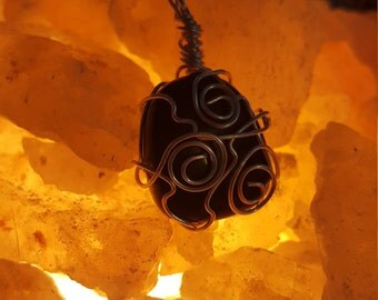 Obsidian wire wrapped pendant