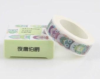 Colorful Birds Washi Tape, owl washi tape, owls washi tape, Beautiful washi tapes, masking tape, mt