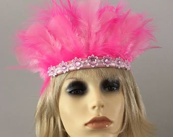 Pink Festival Feather Headband  Festivalwear Festival hippyfeather Music Festival wear Beachwear hippy