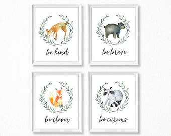 PRINTABLE, Woodland Nursery Art, Woodland Animals Nursery Prints, INSTANT DOWNLOAD, Deer Fox Bear Raccoon Watercolor Woodland Set of 4