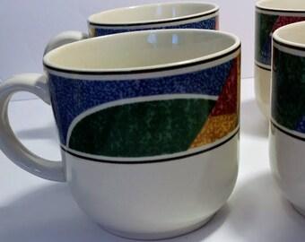 Vintage Sango Flair Coffee Tea Cups, Geometric Pattern, 90s Kitchenware, 90s glassware, Set of 4 mugs, Ugly Mugs, Sango Glassware, Stoneware