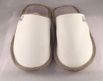 Women slippers, white slippers, leather slippers, wool slippers, warm slippers, closed toe slippers, slippers for women, women's house shoes