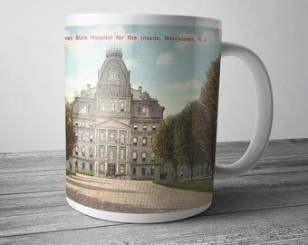 Greystone Park Psychiatric Hospital Mug, State Asylum for the Insane, Morristown NJ, 11 oz Coffee Mug, Historic Postcard, Urbex, Coffee Cup