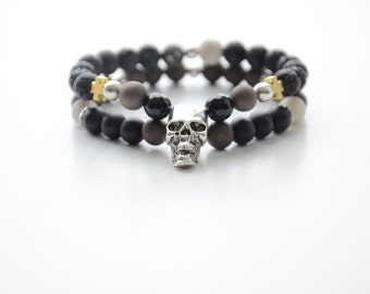 Men bracelet with natural stones and metal details