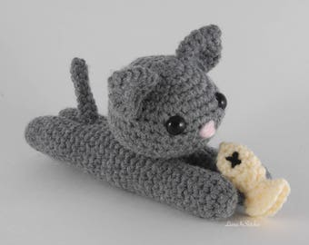 Lazy Cat with Toy Fish Crochet Pattern