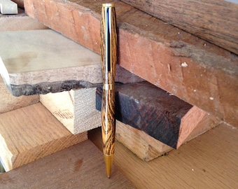 High School Graduation Gift For Him // Handmade Gold and Wood Twist-Action Pen // Gift for Graduation