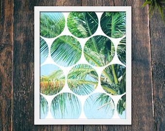 Modern Tropical Print, Contemporary Modern Decor PRINTABLE, Green Leaf Wall Art Print, Palm Tree Modern Art, Tropical Plant Photo (#16197)