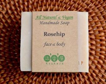 Rosehip soap, antioxidant, anti-aging, rosehip facial soap, face and body soap, all natural, rosehip powder, vegan soap, homemade soap
