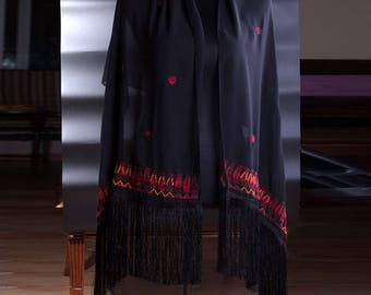 black chiffon shawl handmade embroidery