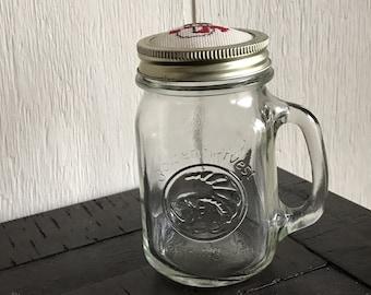 Vintage Golden Harvest Drinking Jar with Crocheted Lid