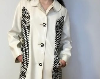 Original 60's Mod Coat. Vintage Vinyl (size 10-12) Black and White 2 Tone