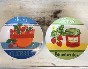 Vintage Look Decorative Fruit Plates - Set of two