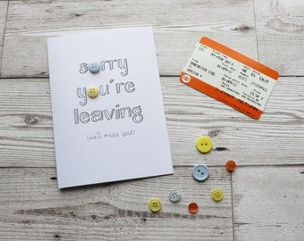 Leaving Card - Good Luck Card - Goodbye Card - Good Luck - Leaving - Miss You Card - Greeting Cards - Button Art - Illustrated Card