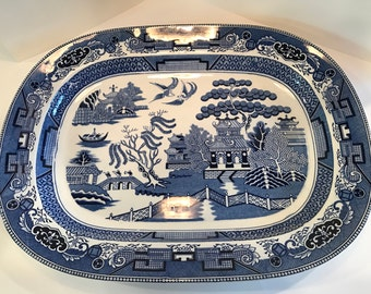 JUST REDUCED!! Vintage William Sonoma Blue and White Ceramic Platter made in Japan