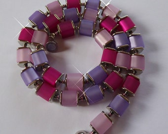 Chain necklace, jewelry, Polaris, cube, pink, gift, woman, magnetic clasp, lilac, purple,