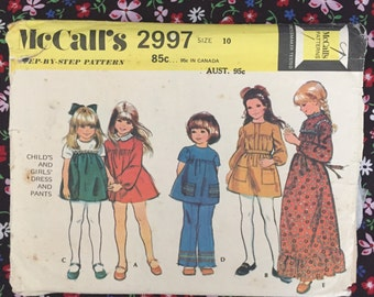 1970s Vintage McCall's Pattern 2997 Child's and Girls' Dress and Pants - Size 10