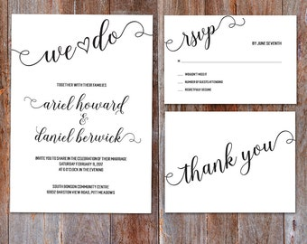 We Do Wedding invitation, Black and white Wedding Invitation, Custom Printable wedding invitation, Wedding invitation template, calligraphy