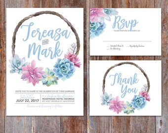 Succulent Wedding Invitation, Watercolor Succulents, Invitation Set, Succulent  Wedding, Succulent Wreath,