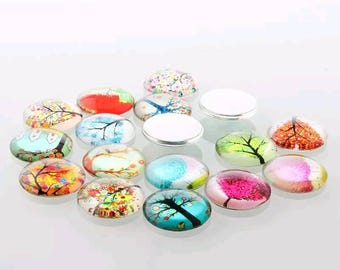 10 Tree of Life Cabochons 12mm half dome glass (WL53a)