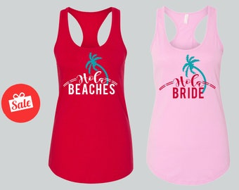 Hola Beaches Hola Bride with Palm tree  Matching Bridal Tank Tops. Bachelorette Tops. Custom Bridal Shirts.[W0209] [W0210]