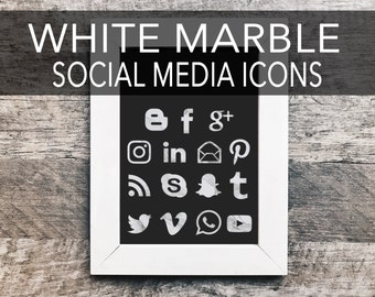 White Marble Social Media Icons | Social Sharing Icons, Social Media Buttons, Gold Social Icons, Blog Icons, Social Media Images