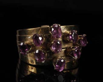 VINTAGE AMETHYST 14K Yellow Gold Stack Ring; 3.7 dwt.
