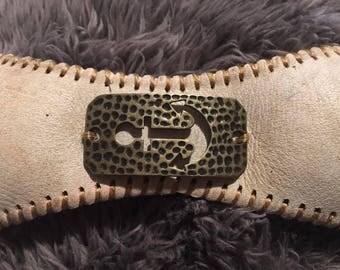 Anchor baseball cuff bracelet