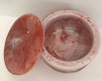Resin Trinket Bowl / Container with Lid  -  Copper and Cream