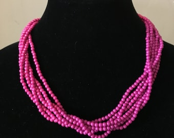 Deeply Pink Layered Necklace