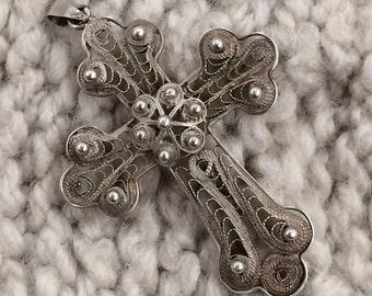 Vintage Silver 925 Filagree Cross
