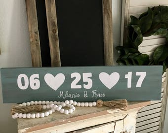 Customized Wooden Wedding Sign with Date and Name