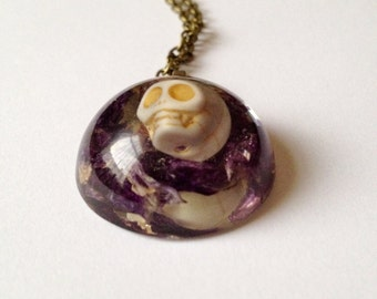 Handmade Necklace: Skull and Lavendar Cast in Resin Pendant. Rock/Gothic Style