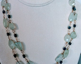 """Aquamarine and Apatite goldfilled wire wrap, 41"""", includes earrings.  DL#287"""