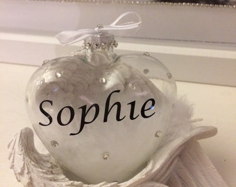 PERSONALISED glass heart with swarvoski crystals and white angel wings