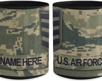 Personalized US Air Force Coffee Mug - US Air Force (USAF) Staff Sergeant (SSgt) Rank, Customized Name or Text, 15 oz Cup, us air force gift