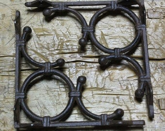 4 Cast Iron Antique Style LIFE RING Brackets, Garden Braces Shelf Bracket Bamboo