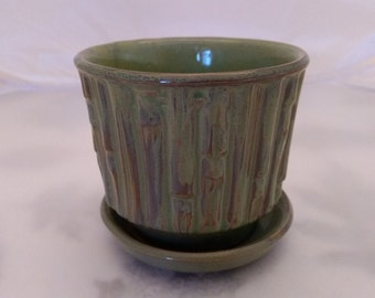 Vintage McCoy Bamboo Flower Pot with attached Saucer