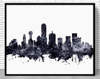 Dallas Print, Dallas Skyline, Dallas Texas, City Wall Art, Office Art, Watercolor Skyline, Watercolor City Print, ArtPrintZone