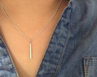 Silver Long Bar Pendant Necklace