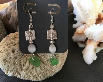 Silver Tone Sea Glass Job's Tears Earrings
