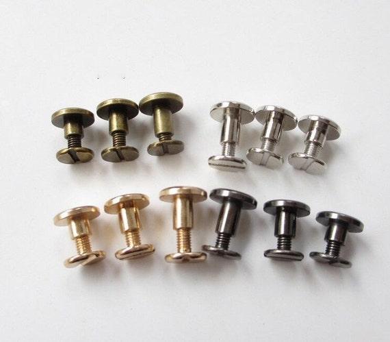 10sets plated rivets flat head belt screws purse leather bag handbag screws rivet silver brass. Black Bedroom Furniture Sets. Home Design Ideas