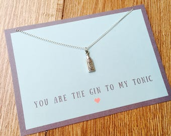 Gin Charm Necklace, You Are The Gin To My Tonic, Fun Gin Gift, Gin Bottle Charm, I Love Gin, Mothers Day Gift